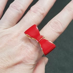 Gold tone red enamel bow ring